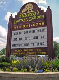 Stuckey's Lawn and Garden Road Sign on Philadelphia Road